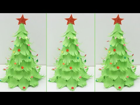 How To Make Beautiful 3D Table Top Paper Christmas Tree DIY Paper Xmas Tree - Christmas Crafts 2019