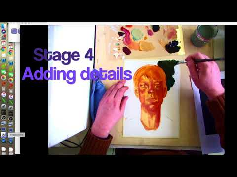 Stanley Spencer painting demonstration in acrylics