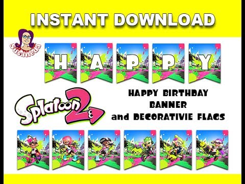 Printable Birthday Party Kit Splatoon 2 YouTube