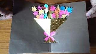 How to make  Bouquet pop up card- flower bouquet pop up card tutorial