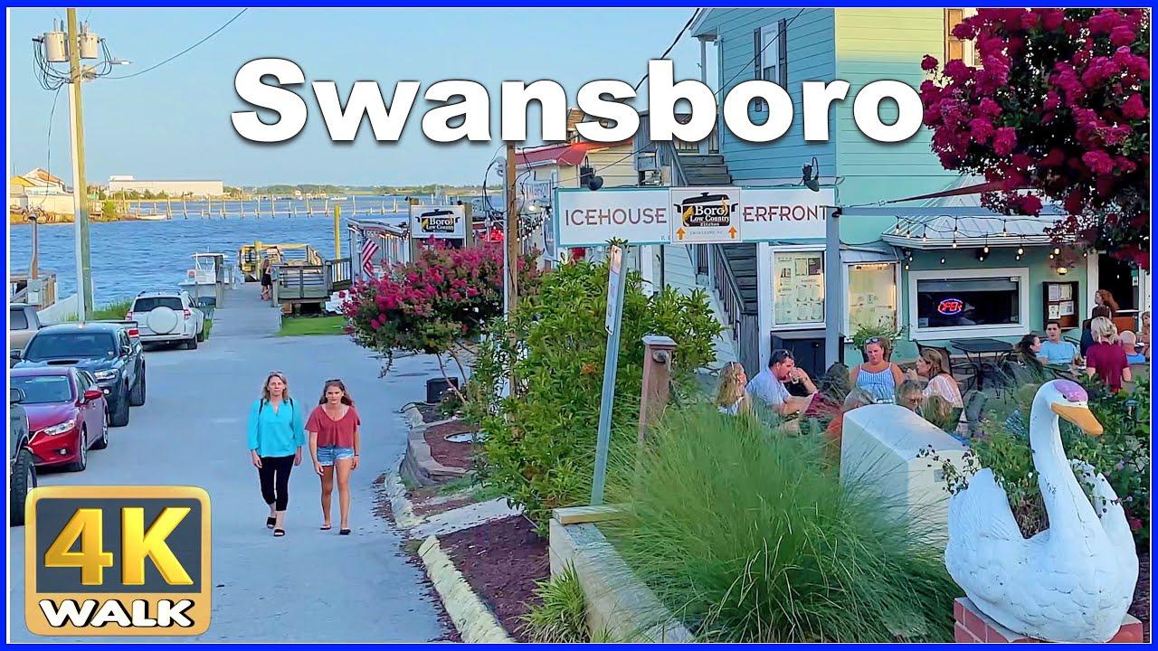 【4K】WALK SWANSBORO North Carolina NC USA 4k video Travel vlog