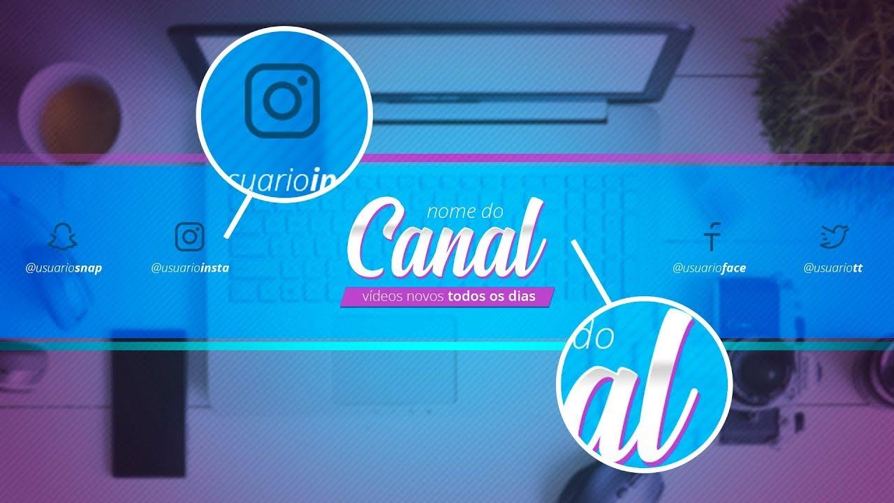 Banner para Canal do YouTube editável no Photoshop
