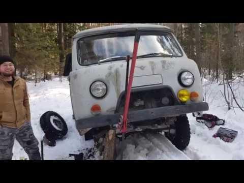 Поездили по снегу на УАЗе, или результат цепей на передке