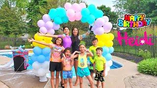 Heidi 9th Happy birthday pool party with HZHtube kids fun