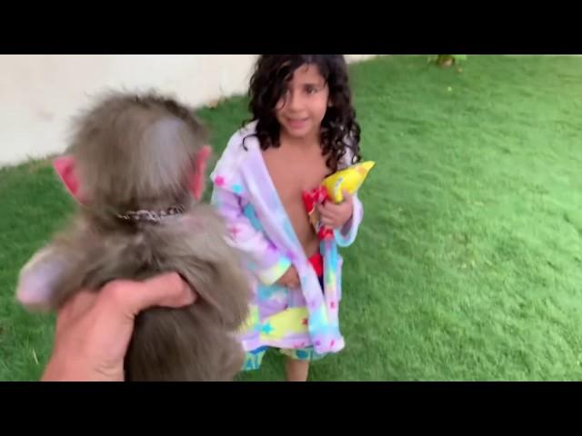 لعبنا بالمويه مع القرد عبسي😍😂
