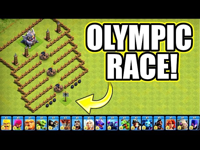ALL TROOPS RACE TO THE TOP OF THE HILL!! - CLASH OF CLANS OLYMPIC CHALLENGE!