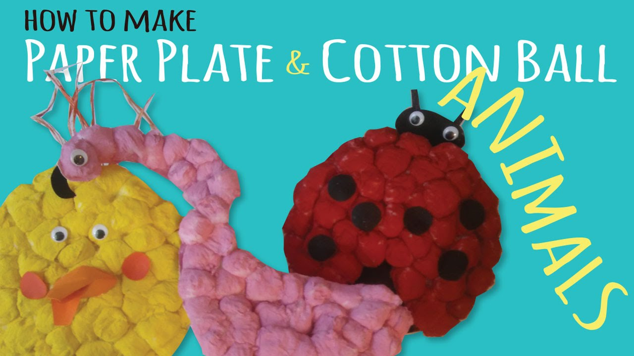 Paper plate animal crafts - How To Make Fluffy Paper Plate Animals Simple Kids Crafts Using Cotton Balls Youtube