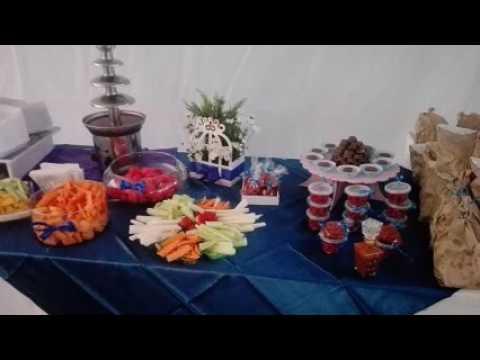 Mesa de dulces para xv a os azul youtube for Cubre sillas para 15 anos
