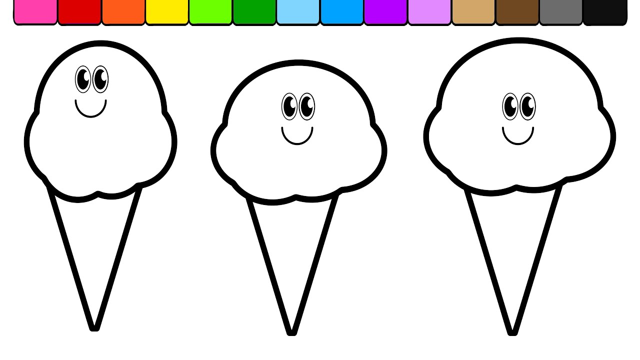learn colors for kids and color 3 ice cream coloring page youtube