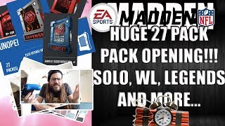 MADDEN 18 27 PACK OPENING!!! LEGEND FANTASY, SOLO, WL, SUPER BOWL REWARDS AND QUICKSELLS