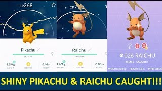 FIRST EVER SHINY PIKACHU & RAICHU CAUGHT IN POKEMON GO!! WORLD'S FIRST SHINY PIKACHU EVOLUTION !!
