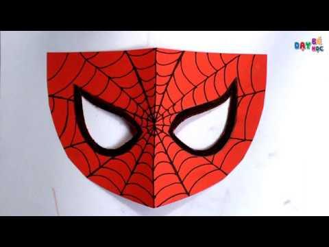 Hướng dẫn cách làm mặt nạ người nhện bằng giấy thủ công đơn giản   Dạy bé học
