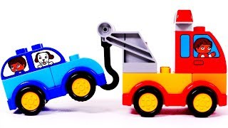 Learn colors with building blocks and toy vehicles for kids