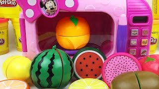Minnie Mouse Food Cooking Microwave Toy Velcro Cutting Learn Colors Play Doh Ducks Fruits Strawberry