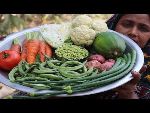 Village Food Farm Fresh Mix Vegetable Recipe Village Style Healthy Fresh Mixed Vegetable Fry Cooking