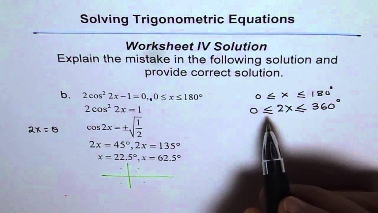 Worksheets Solving Trigonometric Equations Worksheet trigonometric equations worksheet 4 solutions c2 youtube c2