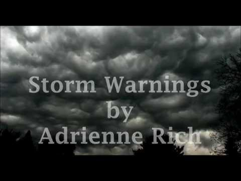"an analysis of storm warning by adrienne rich Everyone has dealt with troubled times, which can accurately be described as 'dark times' or 'internal storms' in the poem ""storm warnings"", adrienne rich organizes the poem's main."