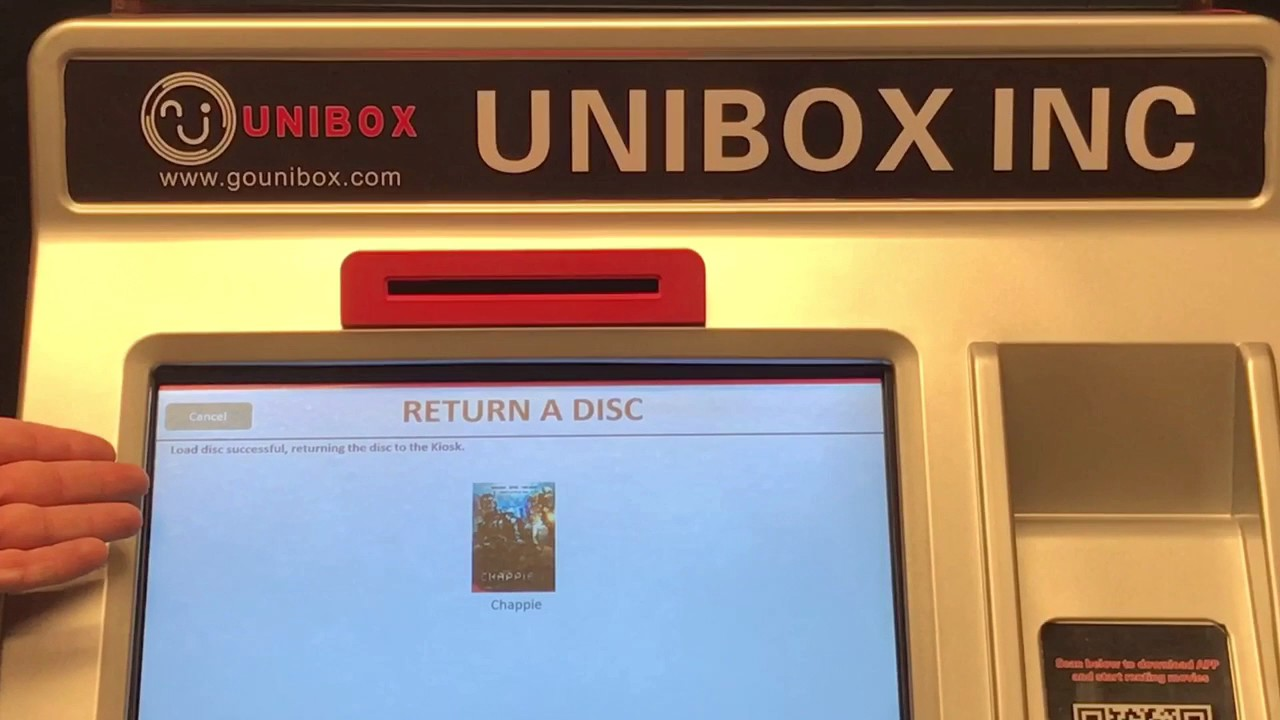 Rent New Release DVD Movie from Unibox Kiosk Machine Demo