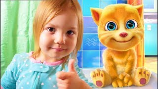 Viktoria plays with talking cat Tom Game Ginger