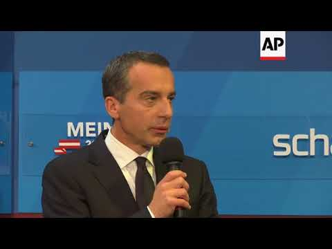 Austria's party leaders at media centre after exit polls
