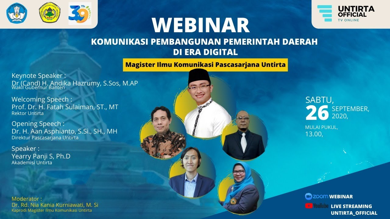Webinar Program Magister Ilmu Komunikasi Untirta, 26 September 2020