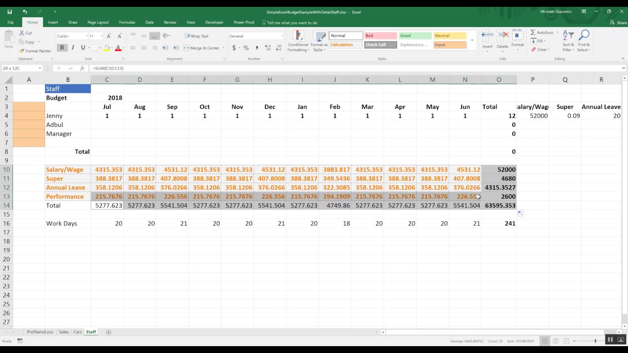 budgeting tools ep3 simple budget in excel detail with staff youtube