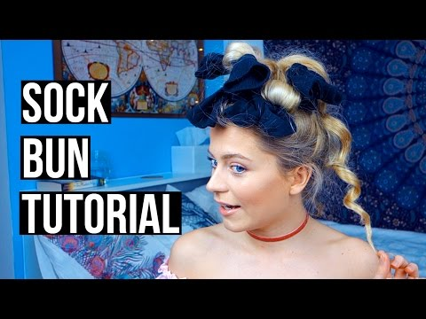 Heatless Curls! Sock Bun Tutorial | Ellesse