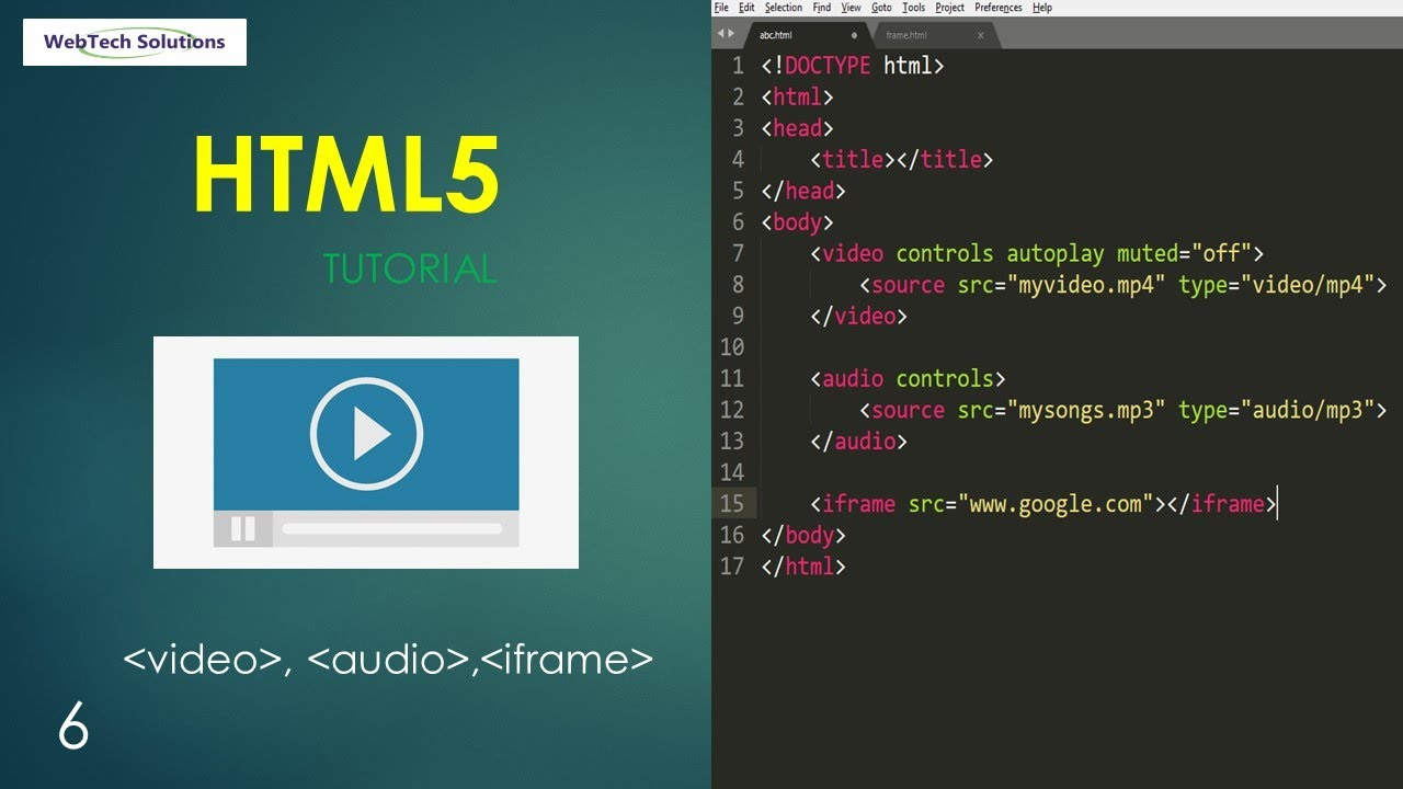 HTML video, audio, iframe tag | html5 tutorial - 7