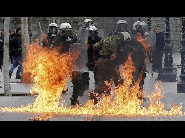 Всеобщая забастовка в Греции: беспорядки в Афинах