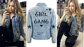 DIY EASY SLOGAN DENIM JACKET WITH RIPS / Inspired by Topshop, River Island etc...