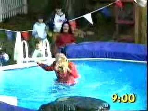 Gaby Roslin pool jumping