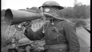 Members of the American Expeditionary Force dig a trench wearing gas masks in Fra...HD Stock Footage