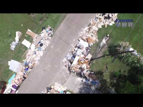 See flyover of debris in Ascension Parish after Louisiana flood