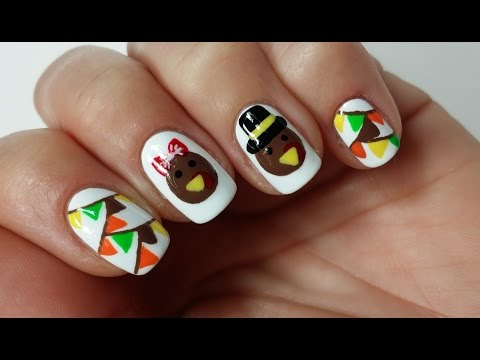 Easy Thanksgiving Turkey Nail Art Design!!!