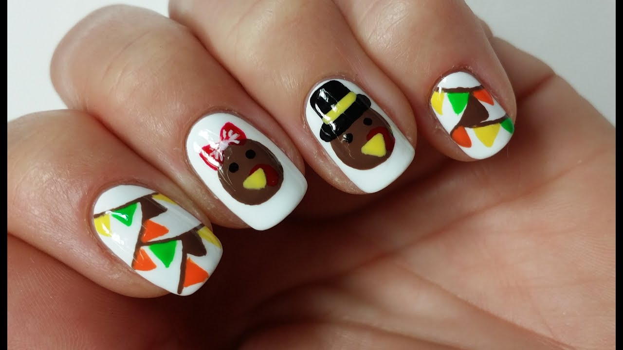 easy thanksgiving turkey nail art