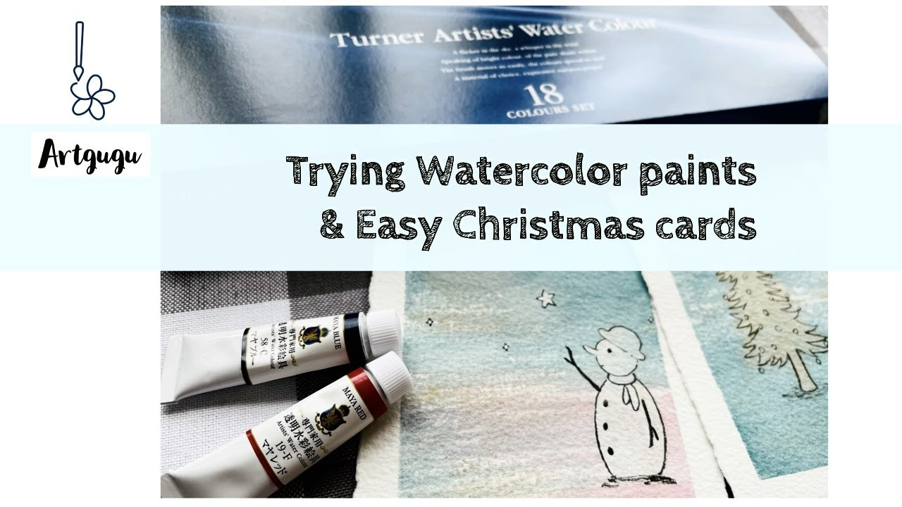 Turner Watercolor paint set + Easy Christmas cards/ Watercolor tutorial Christmas tree Snowman