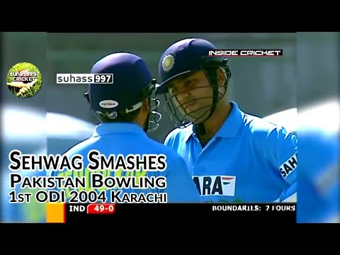 Sehwag thrashes Pakistan! Pakistan v India 2004 Samsung cup