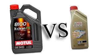 motul 8100 x-clean fe 5w30 vs castrol edge turbo diesel 5w40 test oil engine