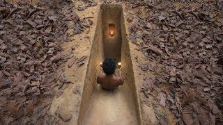 Build Secret Underground Slide Tunnel Villa in Deep Jungle by Ancient Skills