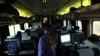 Walk through Amtrak Empire Builder observation car, sleeper, dining car