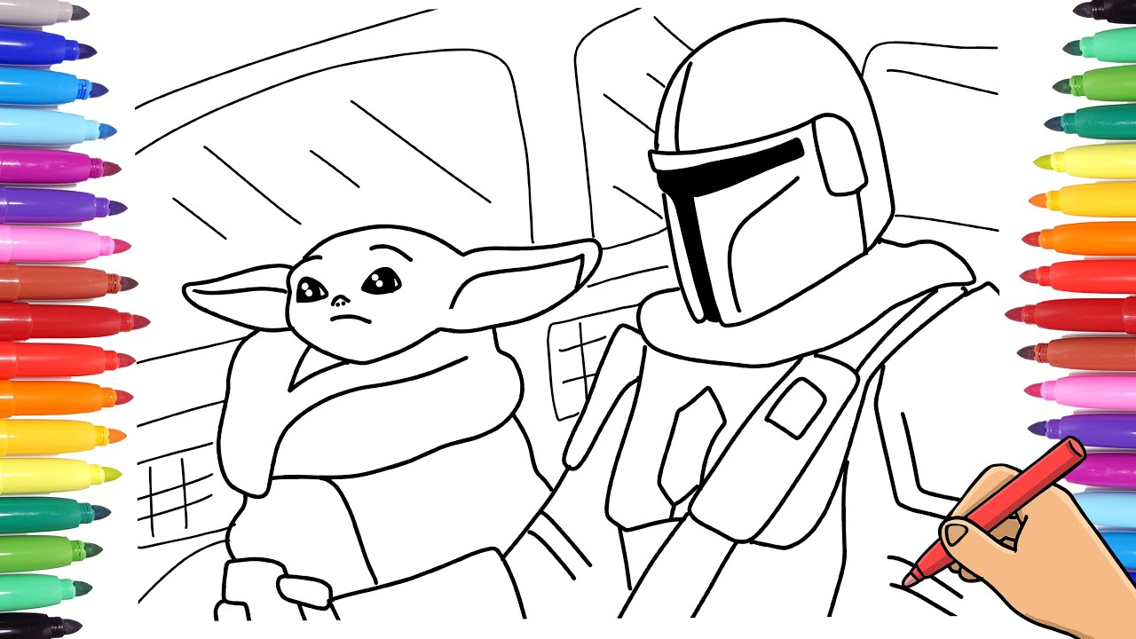STAR WARS THE MANDALORIAN BABY YODA COLORING PAGE. HOW TO DRAW THE  MANDALORIAN AND YODA.