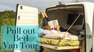 Van Tour: off grid camper with unique bed/sofa/balcony in one (2018)