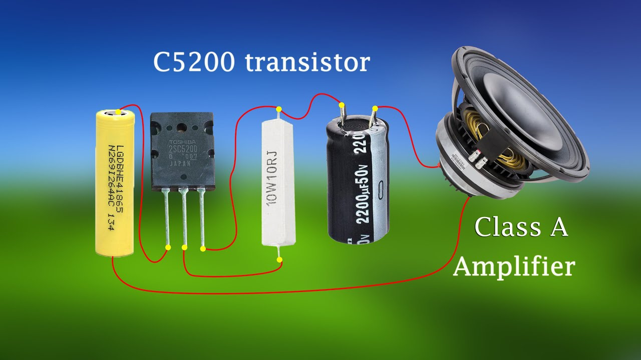 diy class a amplifier 2sc5200 transistor extremely powerful using output capacitors [ 1280 x 720 Pixel ]