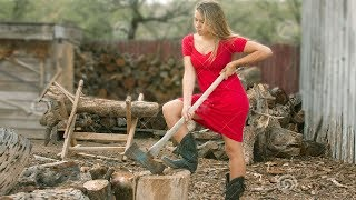 10 Amazing Extreme Fast Firewood Processor Splitter Machine Technology -Girl Chopping Wood Dangerous