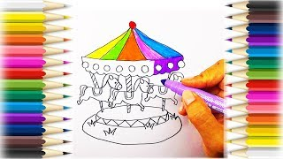 How To Draw The Carousel /Coloring Page/Art Colors for Children