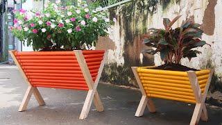 Floreiras Utilizando Madeira e Canos de PVC – Ideia Incrível