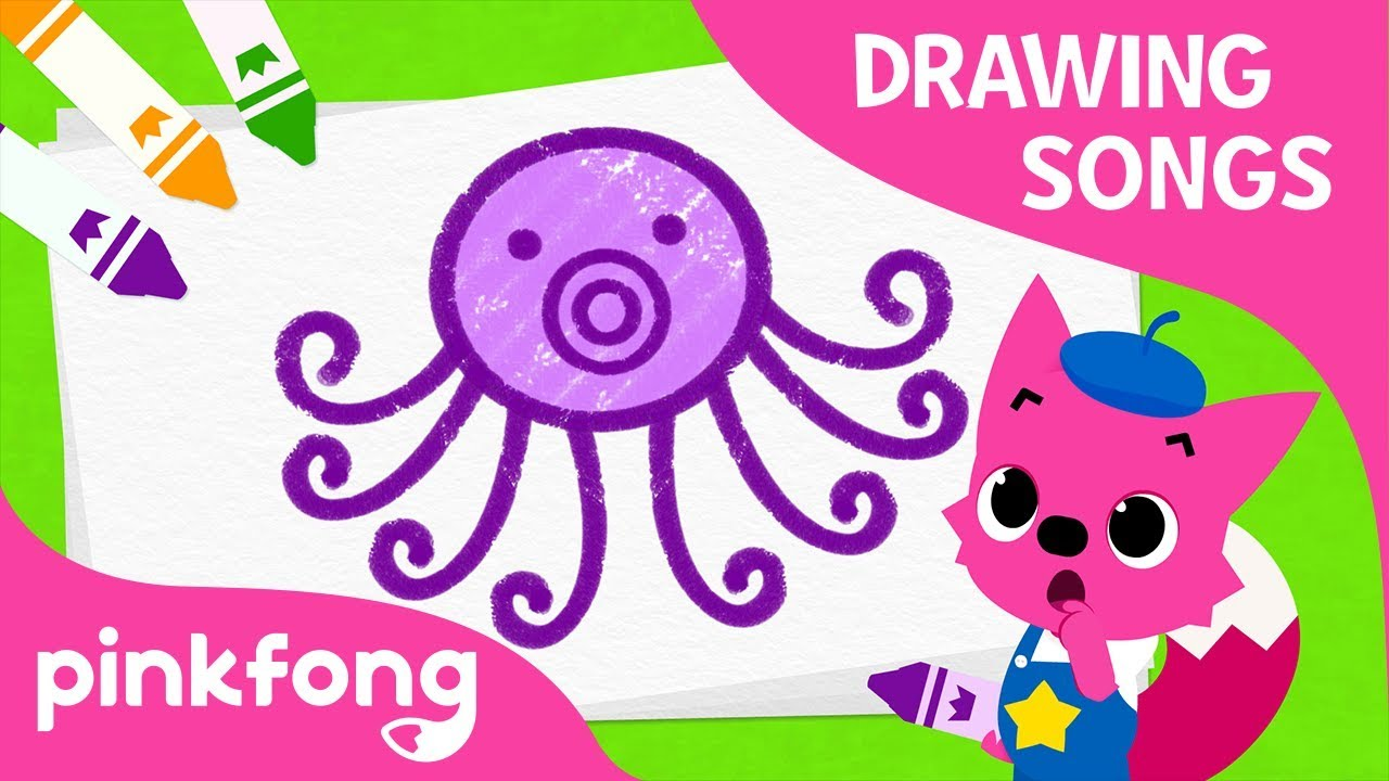 Lets Draw an Octopus | How to draw and Octopus | Drawing Songs | Pinkfong Songs for Children