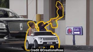 Little Kids Go Thru Drivethru in Toy Car!
