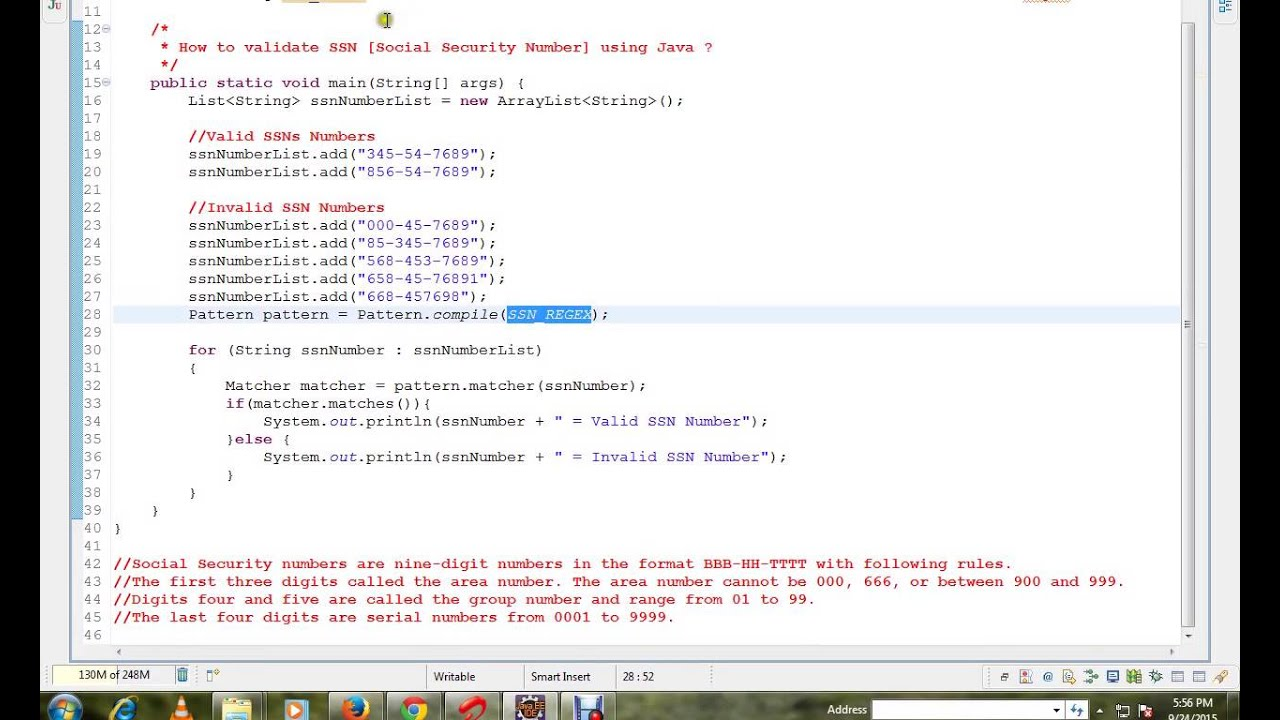 HOW TO VALIDATE SOCIAL SECURITY NUMBER USING JAVA avi
