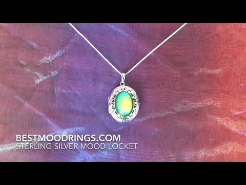 Best Mood Rings  - Sterling Silver Mood Pendant Locket - Watch it Changing Colors